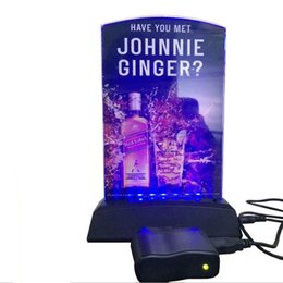 Wholesale LED Menu Stand LED Drink List Stand Holder Restaurant Hotel Bar KTV Night Club LED Table Menu Rechargeable USB Charger