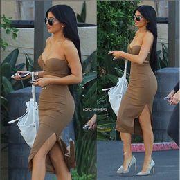 Robes moulantes kardashian à vendre-2016summer Khloe Kardashian robe sans bretelles sur l'épaule marron deux pièces de soirée prom de bal élégante élégante robes en daim bodycon