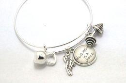 Wholesale 12pcs Fitness Charm Bracelet Expandable Alex Style Bracelet with Kettlebell Running Shoe Barbell bracelet