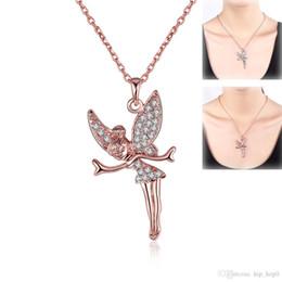 Acheter en ligne Anges ailes-Cute Angel Wings Girl Collier pendentif strass bijoux en cristal avec de l'or rose or jaune et blanc plaqué or Cadeaux Best Chain