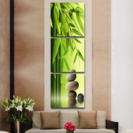 Wholesale 3 Set Artist Canvas Still Life painting Bamboo and Stone vertical forms Canvas Prints Wall Pictures for Living Room Picture No Frame