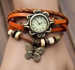 Butterfly Womens Leather Charm Bracelets Casual Traditional Flower Charm Friendship Cheap High Quality Link Chain Bijouterie