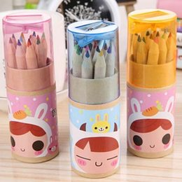 4 Barrels 48 pieces pencils 12 Colors Lot Colorful Pencils Stationary With Pencil Sharpener Material Escolar