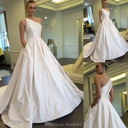 Wholesale Cheap A Line White Wedding Dresses One Shoulder With Pocket Pleats Sex Open Back Summer Garden Country Bridal Wedding Gowns Plus Size