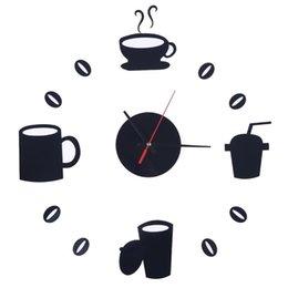 Wholesale New Fashion Gustless coffee diy wall clock acrylic combination Three dimensional crystal Creative wall stickers