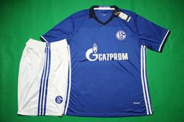 Wholesale Bewon Schalke home blue soccer jerseys short sleeve football uniform designer soccer set thai quality tracksuit leisure sport kit