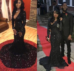 2019 Long Sleeve Black Girl Mermaid Prom Dresses Bling Sequins Plunging V Neck Court Train African Sexy Formal Evening Gowns Women