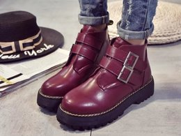 Europe and the 2017 autumn and winter Taichung Oxford shoe buckle waterproof with thick soled boots muffin fashionista Ma Dingxue
