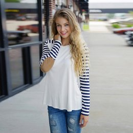 Wholesale 2016 NEW Fashion Women Striped T Shirt Casual Slim Long Sleeve Patches O Neck Top Streetwear Autumn Bottoming Shirt