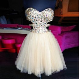 Cute Short Pink Homecoming Dresses Sweetheart Crystal Sequins Beaded Cutaway Sides Tulle Short Prom Dresses Cocktail Dresses Party Gowns