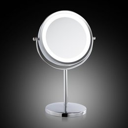 Wholesale 7 Inch LED Table Mirror Lovely Makeup Mirror Magnification Iron Chrome Finished Mirror Gift for Girlfriend Table Stand Cosmetic Mirror