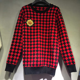 Wholesale winter Red and black Plaid wool sweater super invincible Indian silk badge lion head and shoulders buckle fashion luxury jumper Hoodies