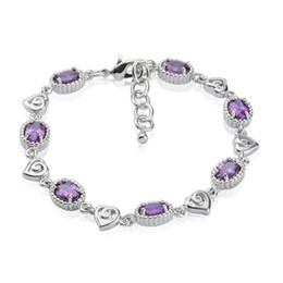 Sweet Heart Charm Bracelet Prong Setting Oval Violet Zircon 18K White Gold Plated Bracelet Romantic Gift for Lover