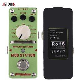 Efectos de modulación en Línea-AROMA AMS-3 Mod Modulation Ensemble Efecto de guitarra eléctrica Pedal Mini efecto simple con True Bypass