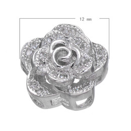 925 Silver Style Cubic Zirconia Micro Pave Copper Beads Rose Platinum Plated Nickel Lead & Cadmium Free 12mm 20 PCs Lot Free Shipping