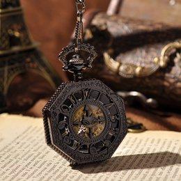 Wholesale Black Irregular Shape Roman Dial Hand Wind Unisex Pocket Watch Amazing Cross And Bats Watch