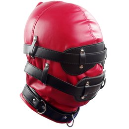 Red Mask Harness New Fetish PVC Soft Leather With Goggles Multiplex Hood Adult Sex Game Headgear
