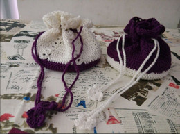 Wholesale Set of Antique Crochet Lace Yarn Wedding Candies Bags Drawstring Storage Bags Purse coin pouch handmade Purple and White Color
