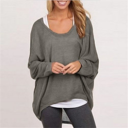 Wholesale Fashion Spring Autumn Women Blouse Batwing Long Sleeve Casual Loose Solid Top Shirt Sweater Plus Size Blusas Femininas Colors