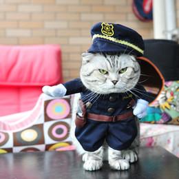 Купить Онлайн Головные уборы для собак-Кота собаки любимчика костюма Круто Равномерное полиции с Hat Cute Pet Милиционер Outfit Одежда 4 Defferent Размер для домашних животных