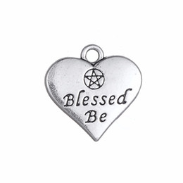 New Heart Shape Engraved Letter Blessed Be Double Side Love Charms for Jewelry Making Easy to diy for you