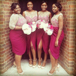 Wholesale bella naija Burgundy Bridesmaid Dresses White Lace Top Short African Wedding Guest Dresses Split Prom Dress bridesmaid gowns Custom Made