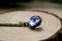 Wholesale 12pcs Earth necklace Planet Earth Glob Solar system necklace Space jewelry Glass dome necklace