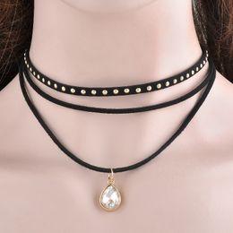 Wholesale Steampunk Layers Black Ribbon Chocker Necklace Women Fashion Jewelry Bib Necklace Collier Bijoux Femme Collares