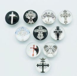 Wholesale 50pcs MM glass cabochon Cross snap buttons fit DIY snap bracelet jewelry mix Random OEM ODM print buttons AC309