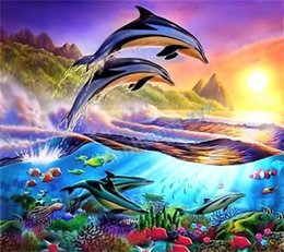 Wholesale 100 round DIY D Diamond Mosaic animal dolphin Handmade Diamond Painting Cross Stitch Kits Diamond Embroidery Patterns Rhinestones