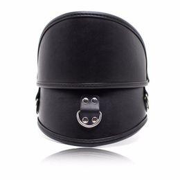 Padded PU Leather Premium Bondage Posture Collar Neck Brace Training Device Black for Male or Female