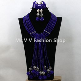 new Fashion high quality african beads Jewelry Set royal blue silver Crystal Pedant Statement Necklace Set New Free Shipping