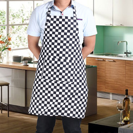 Wholesale Creative Kitchen Apron for Women and Men Useful Cooking Apron Black and White Grid Hot Sale Adjustable Black Stripe