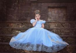Descuento cenicienta niños vestido del partido Vestido de bola vestido de cola de milano niños de la manera de Cosplay Princess Cinderella vestidos de traje de los niños del vestido de lujo del partido de la muchacha de hadas cola de pescado azul