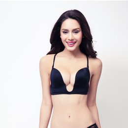 Wholesale Deep Plunge U Brazaletes Mujeres Sexy Seamless Adaptable Correas Convertible Sutian Naranja Khaki Negro Push Up Bra