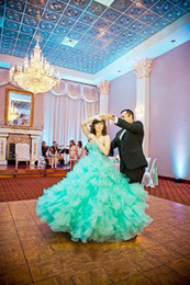 2016 Sweet 16 Quinceanera Dresses With Beadede Crystal Turquoise Organza Ball Gowns Back Corset Formal Pageant Gowns for 15 years Girl