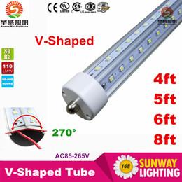 Wholesale T8 V Shaped Led Tube Cooler Light ft ft ft ft Single Pin fa8 Led Light Tubes Angle Double Sides AC V
