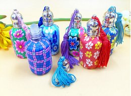 Wholesale 15ml Fimo Empty Perfume Bottle with Roll On Ball Polymer Clay Fragrance bottle 100pcs lot by DHL Free Shipping
