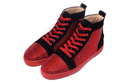 Wholesale fashion brand high top couple casual red bottom stud sneaker rhinestone hot drilling flat shoes