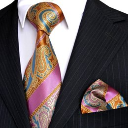 E6 Paisley Stripes Multicolor Orange Yellow Blue Pink Mens Tie Necktie Sets Hanky 100% Silk Wholesale