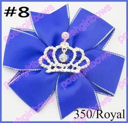 free shipping 50pcs 4.5'' pinwheel hair bows crown girl hair clips rhonestone toddle hair bows baby gift hair clips