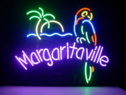 Wholesale MARGARITAVILLE PARADISE PARROT Real Glass Neon Light Sign Home Beer Bar Pub Recreation Room Game Room Windows Garage Wall Sign
