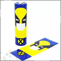 Wholesale 18650 Battery Sleeve Skin PVC Heat Shrinkable Tubing Wrap fit battery Superman Batman Captain America Re wrapping DHL Free