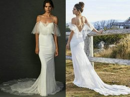 Wholesale Sexy Lace Beach Wedding Dresses Sheath Spaghetti Strap Backless V Cut Grace Loves Lace Lily Chapel Train Capelet Bridal Gowns