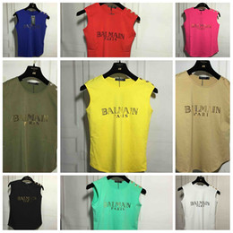 Wholesale Sleeveless Balmain Cotton T Shirt Women Colorful Vest Print Sexy Girl Shirts Tops Tees Plus size camisetas mujer