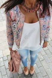2016 New European and American style retro print round neck sport jackets women summer coat Plus Size S M L XL