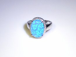 Wholesale & Retail Fashion Fine Blue Fire Opal Ring 925 Silver Plated Jewelry For Women EMT1517006