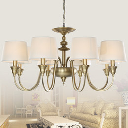 Wholesale European Vintage Lights Single Tier Chandelier Ceiling Lights Antique Brass Chandeliers Lamp Shade Metal Lighting for Home Deco