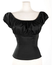 Women Black Peasant Tops Off Shoulder Blouse Sexy Shirt Pinup Rockabilly Clothing Tops Blouse