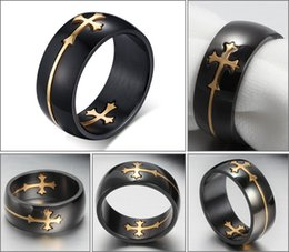 Fashion Ring 316L Stainless Steel Silver Gold Black Removable Cross Rings Custom Factory Outlets Free Shipping